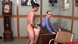 Hot manager Riley Reyes makes Lance Hart eat her creampie after sex