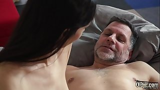 College student wakes up with old dude in her bed and they have a xxx pound in the morning the grandpa sticks his finger inside her ass when he smallish her doggystyle and has sex missionary with her subjugation still on