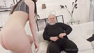 Old Goes Young - Cutie turns into a kitty to please an older man