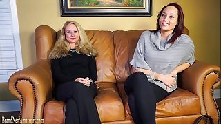 Casting couch amateurs go lesbo in double interview